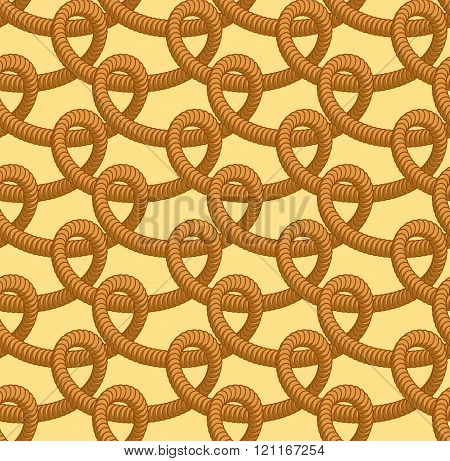 Loop Rope Seamless Pattern. Thick Rope Ornament. Zigzag Of Braided Rope. Braided Fabric Texture