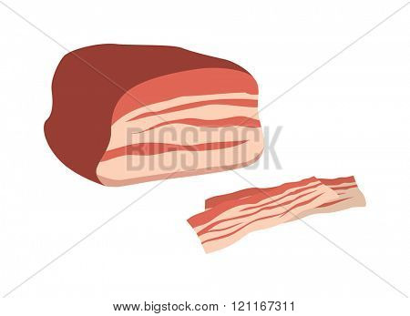 Piece of meat vector food illustration. Vector food illustration of a piece of meat on a white background. Piece of meat sliced. Piece of meat sliced fresh food.