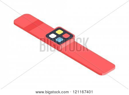 Isometric watch flat 3d isometric graphic vector. Smart watch-fitness and sport concept in flat 3d isometric graphic. Isometric watch clock device gadget. Isometric watch modern smartwatch.