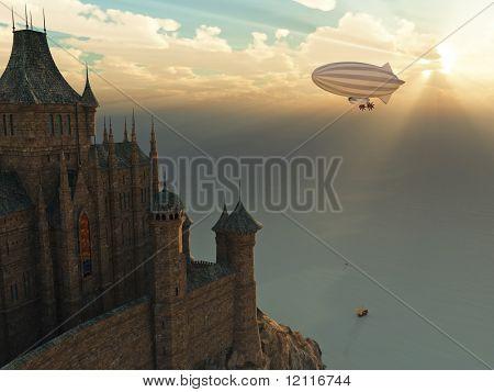 Castelo de fantasia e zeppelin voando ao pôr do sol