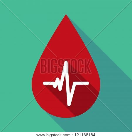 Long Shadow Blood Drop With A Heart Beat Sign