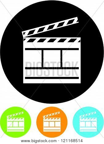 Cinema Clapper - Vector icon isolated on white