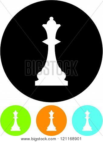 Chess Queen - Vector icon isolated on white