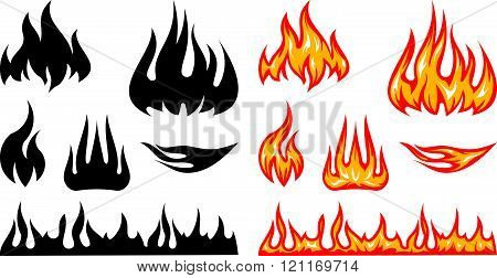 Fire flames - vector illustration isolated on white