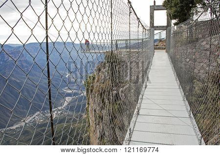 Suspension Foot Bridge At High Elevation