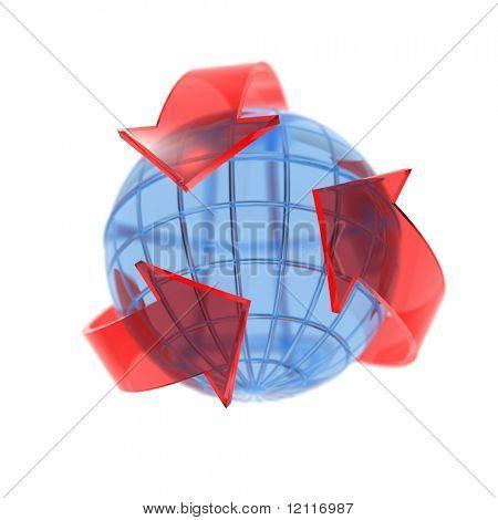 three red arrow spinning on globe