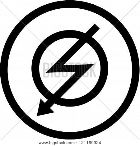 Lightning bolt high voltage vector sign isolated