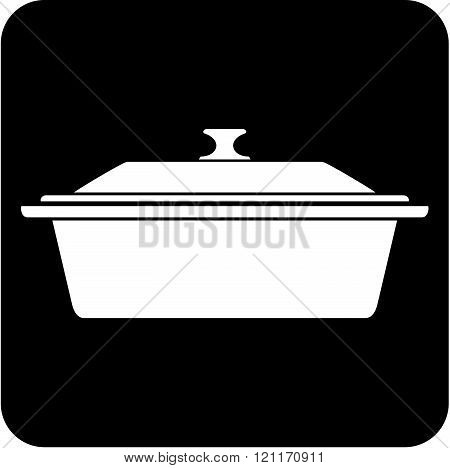 Casserole kitchen pan - vector icon isolated
