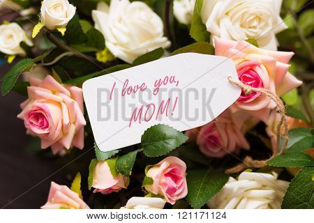 Mothers day card on beautiful roses