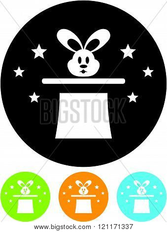Magic hat with rabbit - vector icon