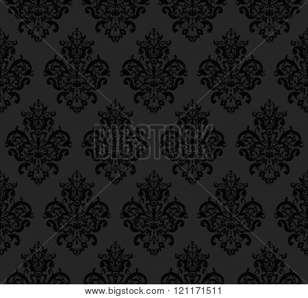 Black Seamless repeating Vector Pattern. Elegant Design in Baroque Style Background Texture.