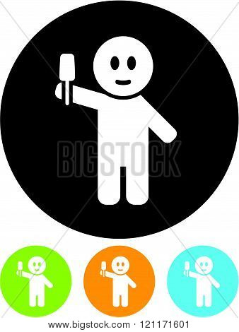 Man with Ice Cream - Vector icon isolated