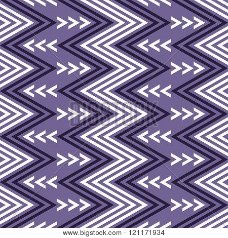 Seamless Pattern Of Vertical White And Purple Zigzag