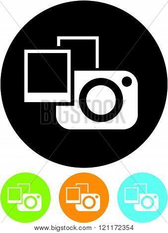 Photo camera with photographs - Vector icon isolated.