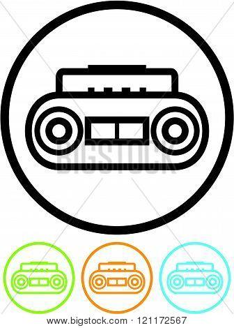 Retro cassette music player - Vector icon.