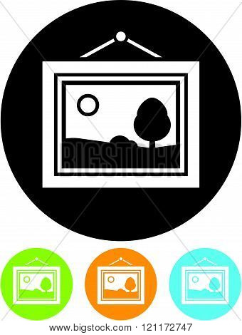 Framed art gallery picture - Vector icon isolated