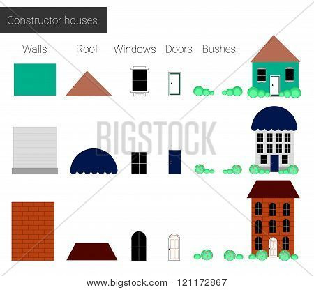 Vector Illustration, Set Cool Detailed  Houses, Constructor Houses, Details