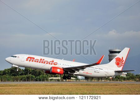 Malindo aircraft takes off at Kota Kinabalu International airport