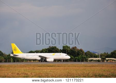 Royal Brunei Airbus A320 taxiing at Kota Kinabalu International Airport