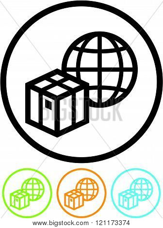Shipping and delivery parcel worldwide - Vector icon.