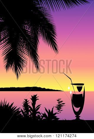 Tropical nature landscape and cocktail glass background
