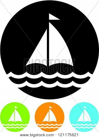 Sailing yacht boat - Vector icon isolated
