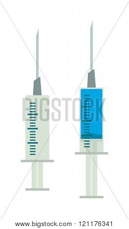 illustration syringe with blue liquid iron needle. colored flat design medical plastic syringe with blue liquid iron needle illustration isolated. syringe. syringe vaccine.