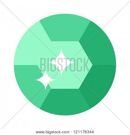 Flat design Green gemstone illustration  Colored gemstone isolated on white background. Green tourmaline gemstone isolated on white background. Green gemstone jewelry shiny gem.