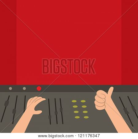 Sound recording studio vector illustration. Sound recording studio isolated on white background. Sound recording studio vector silhouette