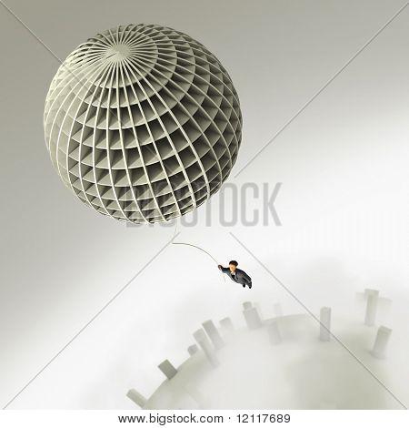 businessman flight on balloon
