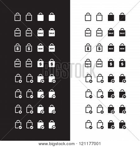 Shopping bag icons on black and white background. Vector illustration.