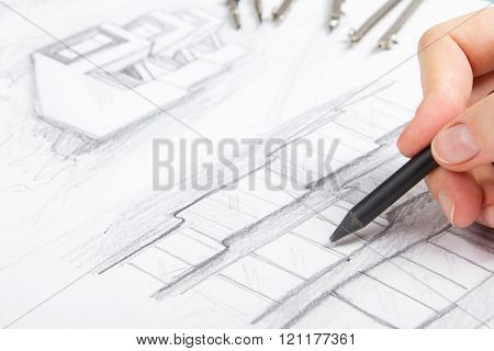 Architect working on blueprint. Architects workplace - architectural project, blueprints and divider compass. Construction concept. Engineering tools.