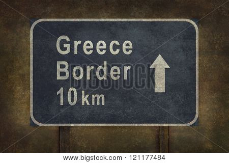 Greece Border 10 km Roadside Sign Illustration