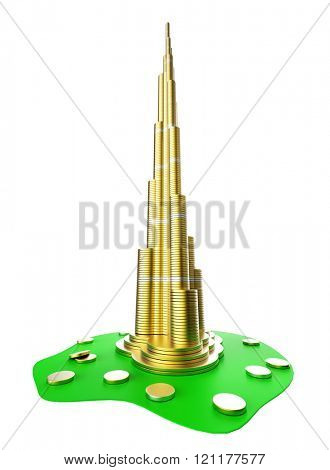 Downtown of DUBAI in the United Arab Emirates- Burj Khalifa. The symbols of the city skyscrapers hotels