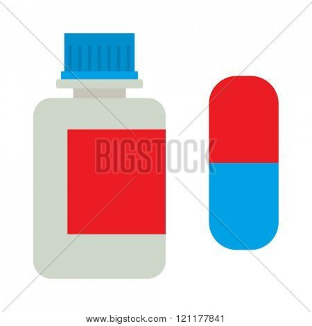 Medicine bottle vitamins jar vector illustration on white background. White plastic bottle vitamins jar, cardboard packaging isolated. Medicine and vitamins jar vector. Vitamins jar.