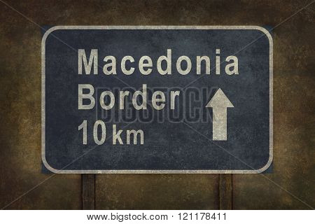 Macedonia Border 10 km Roadside Sign Illustration
