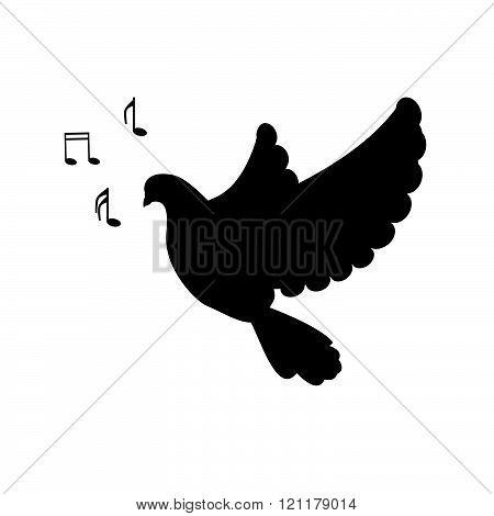 Silhouette Singing Bird