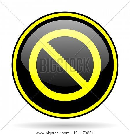 access denied black and yellow modern glossy web icon