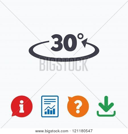 Angle 30 degrees sign icon. Geometry math symbol