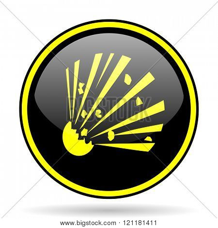 bomb black and yellow modern glossy web icon