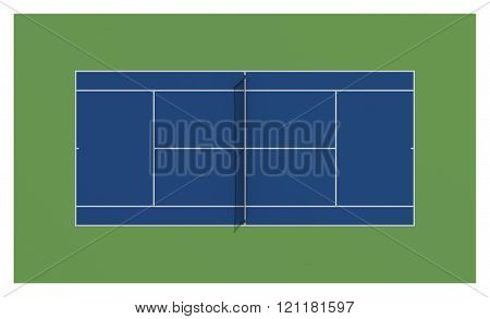 Tennis court. Blue colors. Aerial view.