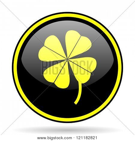 four-leaf clover black and yellow modern glossy web icon