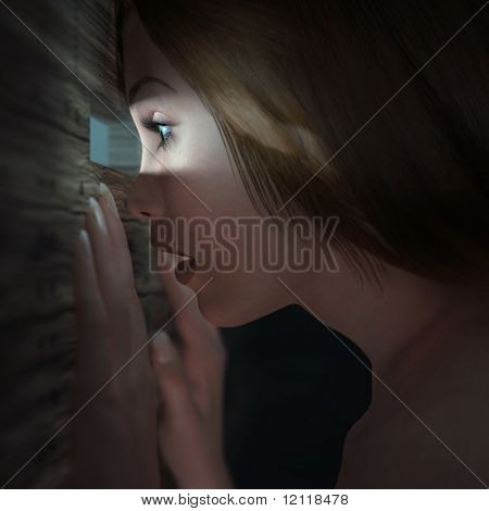 Spying woman