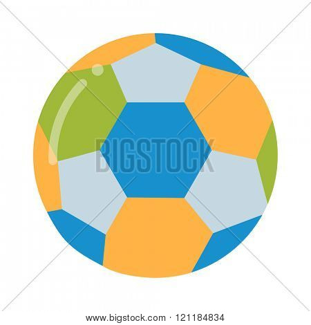 Soccer ball isolated on white vector illustration. Soccer ball football sport equipment. Soccer ball design. Soccer ball vector. Soccer ball colored design. Soccer leather ball.