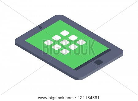 Isometric tablet icon vector illustration flat design. Flat Isometric Concept. Smartphone or Tablet. Isometric tablet 3d icon. Isometric tablet infographic icon. Computer technology isometric design.