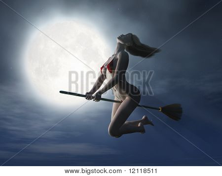 witch flaying on broom at halloween night