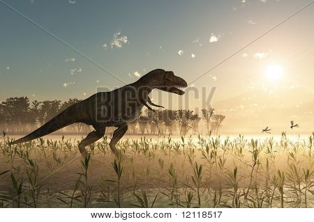dinosaur at sunrise