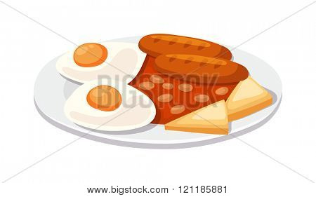 Breakfast with scrambled eggs and toasts, sausage isolated on white background vector. Full breakfast with sausage, scrambled eggs. Grilled sausage with scrambled eggs and toast breakfast.