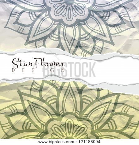 Vector background of crumpled torn paper with floral circular pattern. Mandala. Ragged edges.