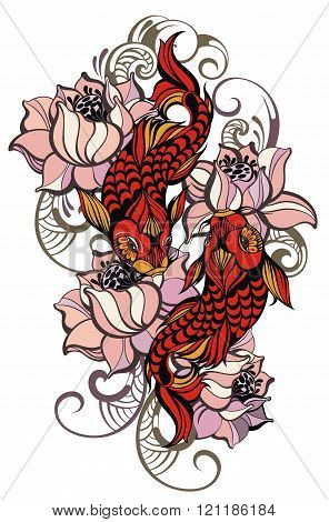 Japanese carps. Koi fishes for your design